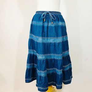 VTG 90's Blair 100% Cotton Tiered Denim Midi Skirt